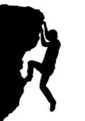 Vector silhouette rock climber, successful concept