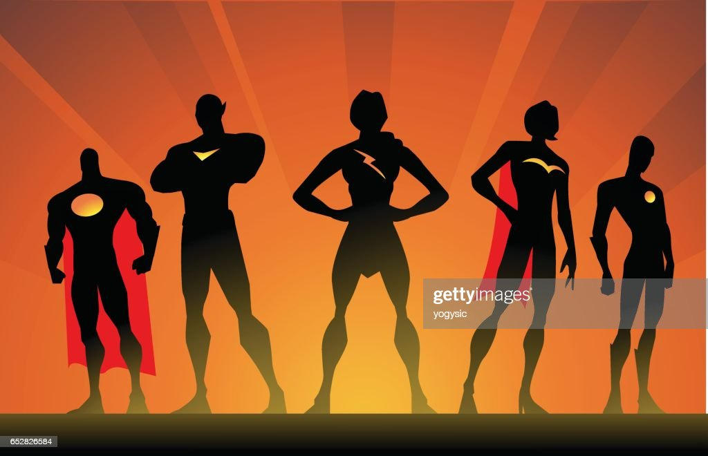 Vector Silhouette Superhero Team Pose : Vector Art