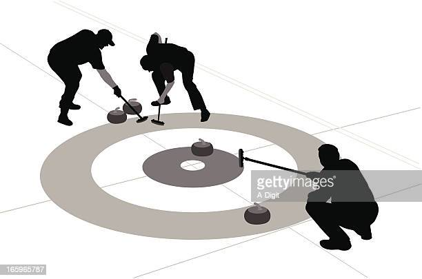 go! vector silhouette - curling sport stock illustrations