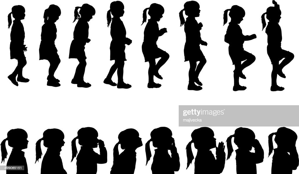 Vector silhouettes girl.