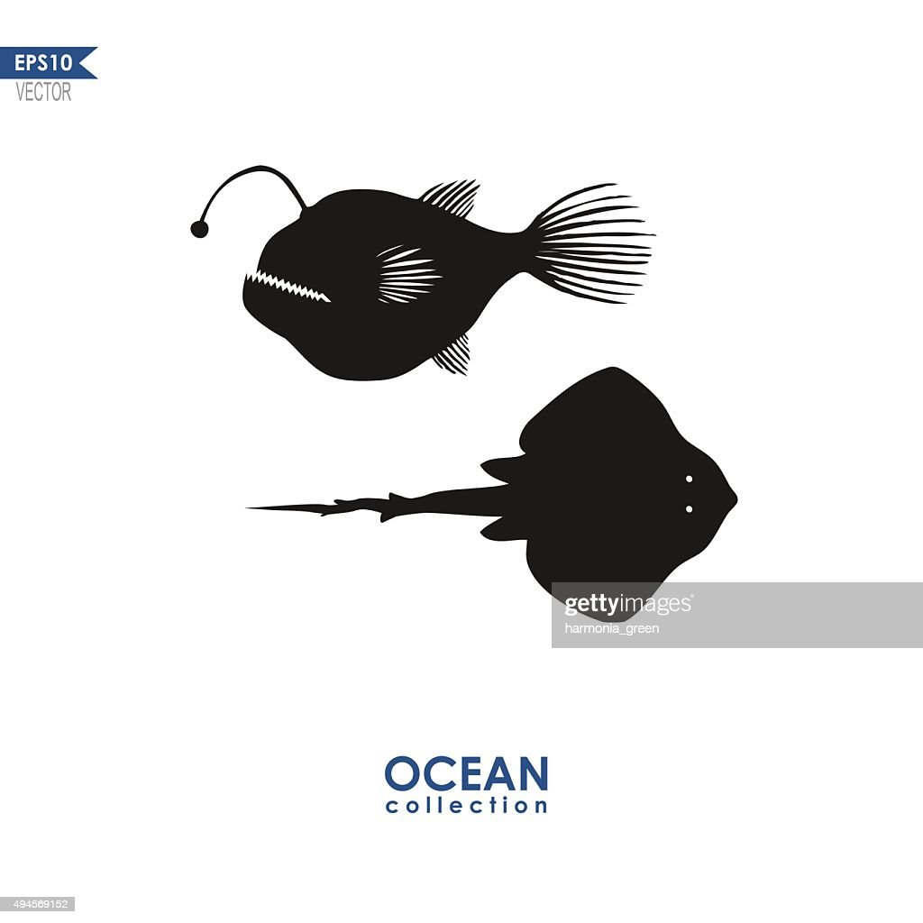 vector silhouettes of marine creatures
