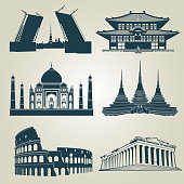 Vector silhouettes of world tourist attractions. Famous landmarks and destination symbols