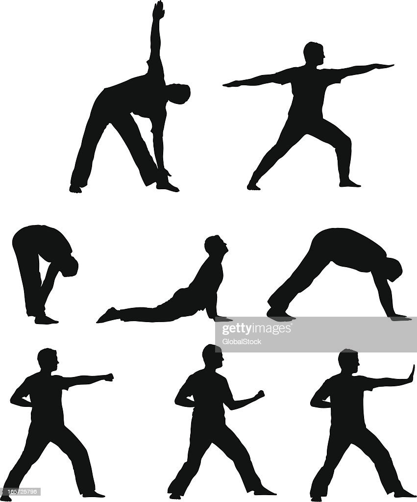 Vector silhouettes - working out (yoga and martial arts)