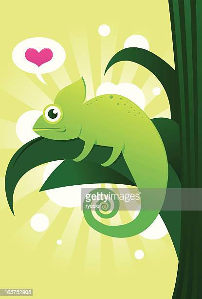 vector silly chameleon - chameleon stock illustrations, clip art, cartoons, & icons