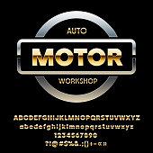 Vector silver emblem Auto Motor Workshop