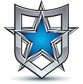Vector silver emblem with pentagonal star, 3d design element