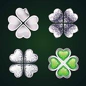 Vector Silver Four-leaf Clovers Set3