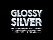 Vector Silver Glossy 3D Font with sparkling Stars