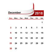 Vector simple calendar 2018 year december month.
