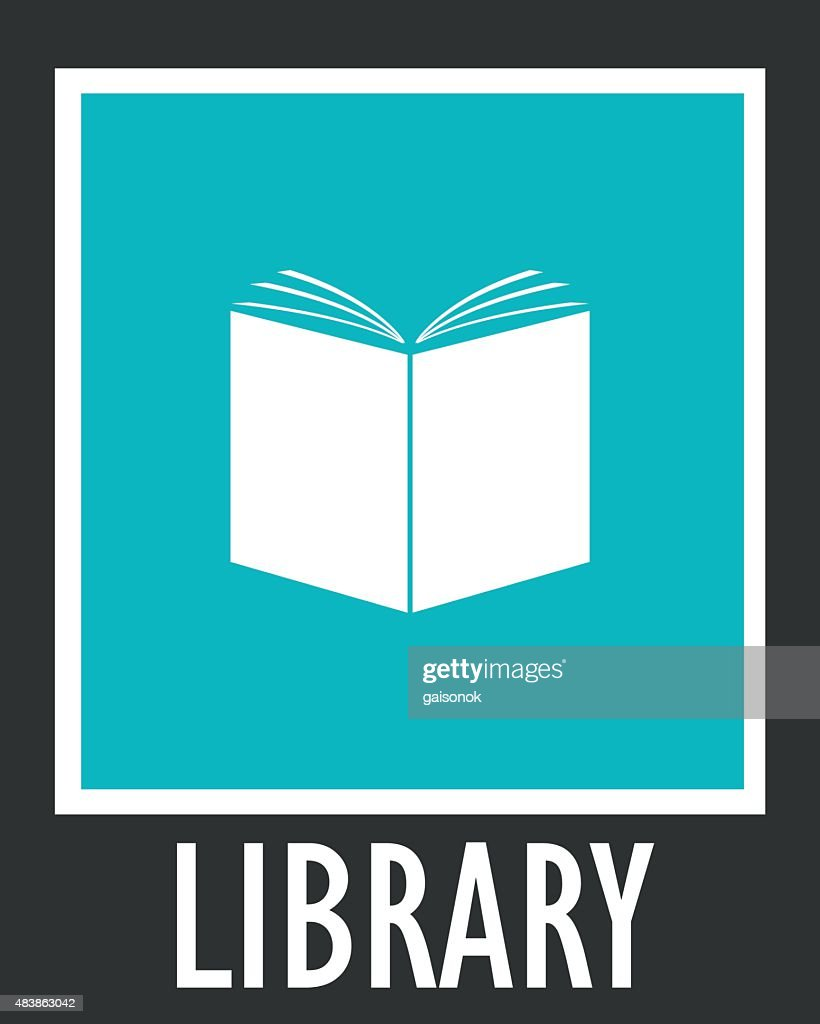 Vector simple icon library. Opened white book
