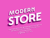 Vector Simple Style sign Modern Store with White Beveled Font