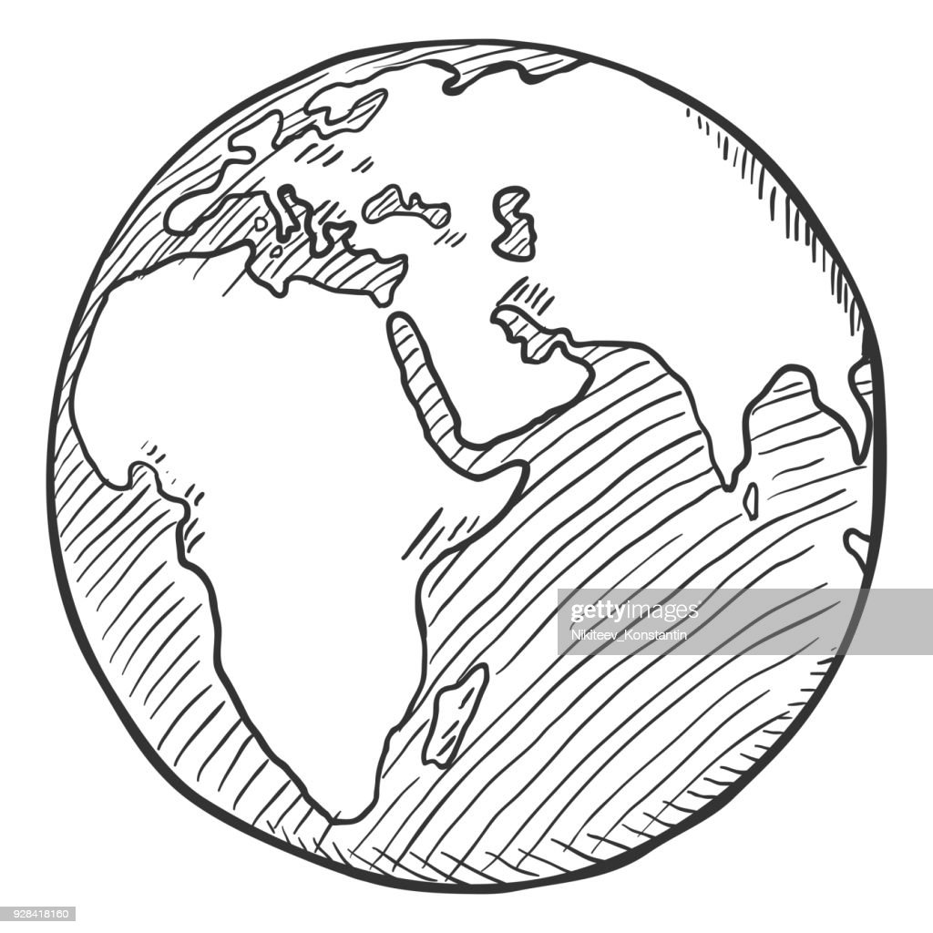 Vector Single Black Sketch Globe Illustration