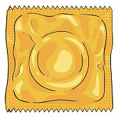 Vector Single Cartoon Condom in Yellow Package