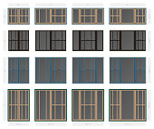 Vector single hung offset style composite window set in different sizes and colors
