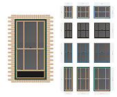 Vector single hung offset style typical window set in different sizes and colors
