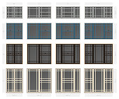 Vector single hung prairie style composite window set in different sizes and colors