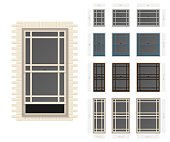 Vector single hung prairie style typical window set in different sizes and colors