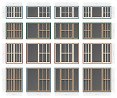 Vector single hung victorian style composite window set in different sizes and colors