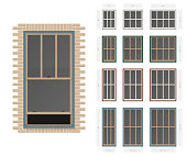 Vector single hung victorian style typical window set in different sizes and colors