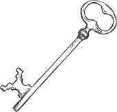 Vector Single Sketch  Antique Key