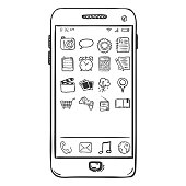Vector Single Sketch Smartphone with Mobile Icons