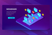 Vector site template for adult messenger, chat