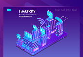 Vector site with 3d isometric smart city