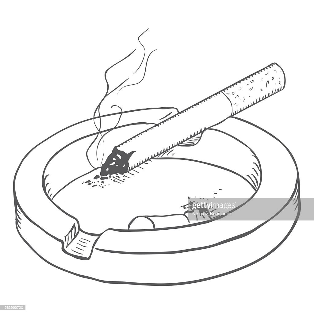 Vector Sketch Ashtray with Smoking Cigarette and Butt