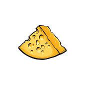 Vector sketch cartoon piece of porous cheese