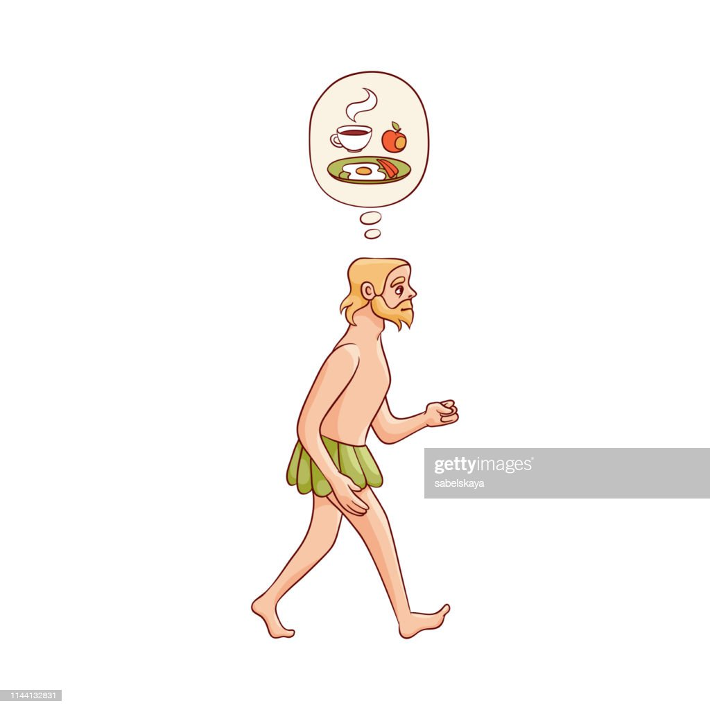 Vector sketch caveman naked in loincloth walking