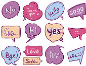 Vector sketch doodle speech bubble with communication phrases