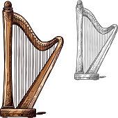 Vector sketch harp musical instrument icon