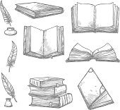 Vector sketch icons of old books and manuscripts