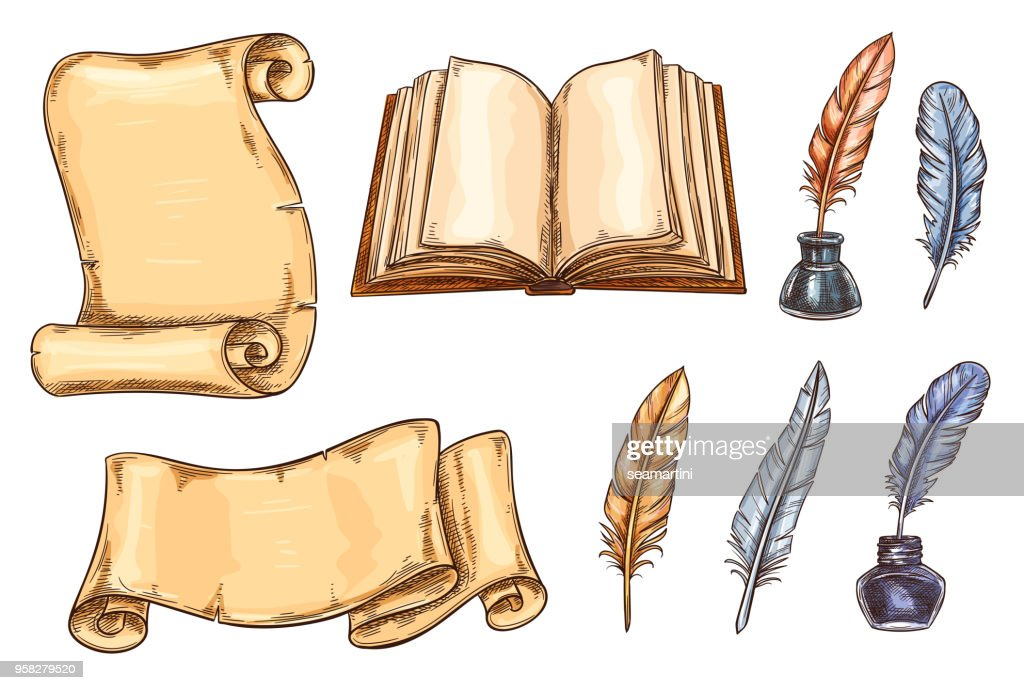 Vector sketch icons old vintage books stationery