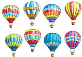 Vector sketch icons set hot air balloons pattern