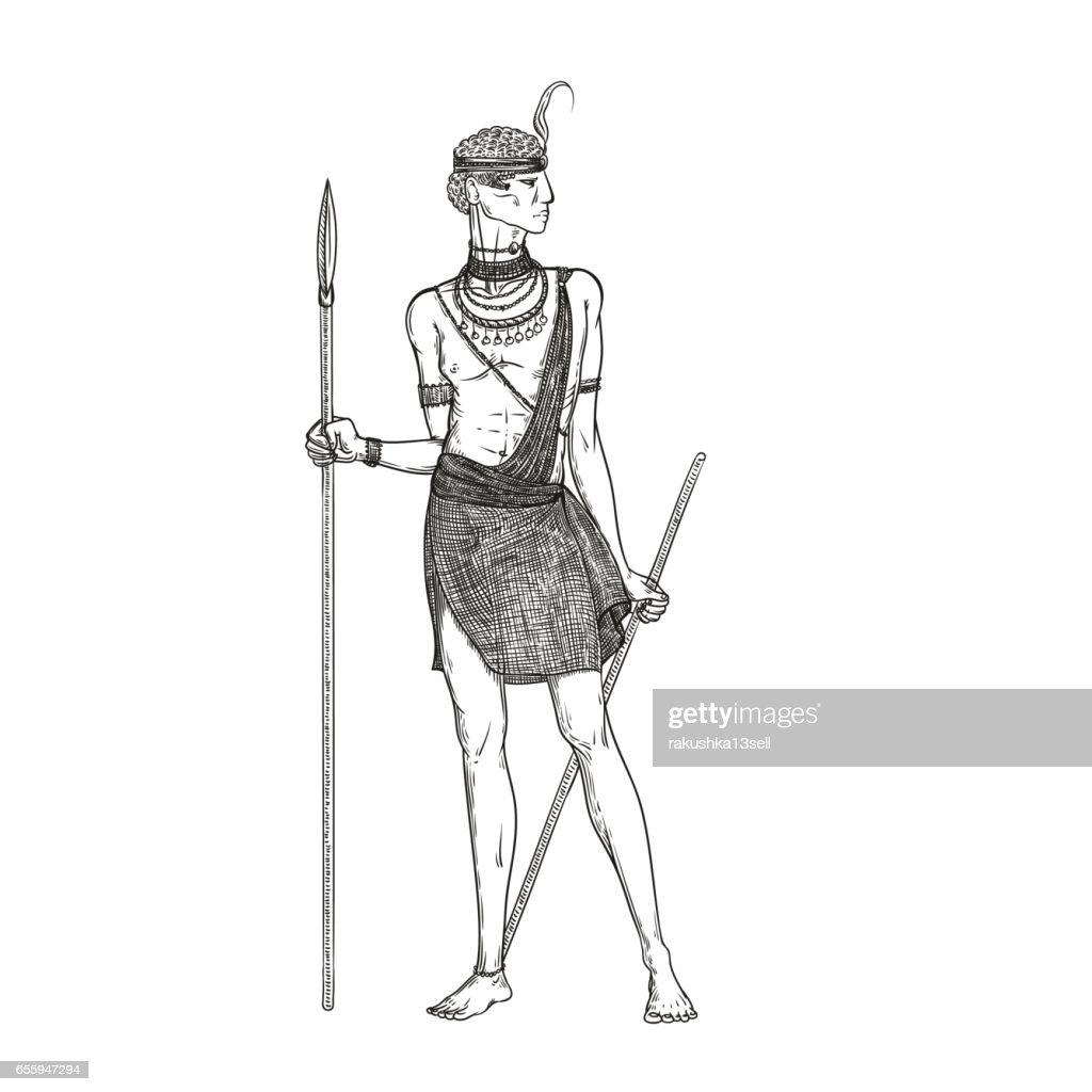 Vector sketch illustration on a white background. Armed with a spear warrior of the Masai tribe in traditional national clothes and jewelry. Indigenous African people living in Kenya and Tanzania.