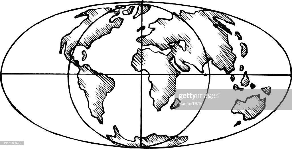 Vector sketch map world flat globe vector art getty images vector sketch map world flat globe vector art gumiabroncs Gallery