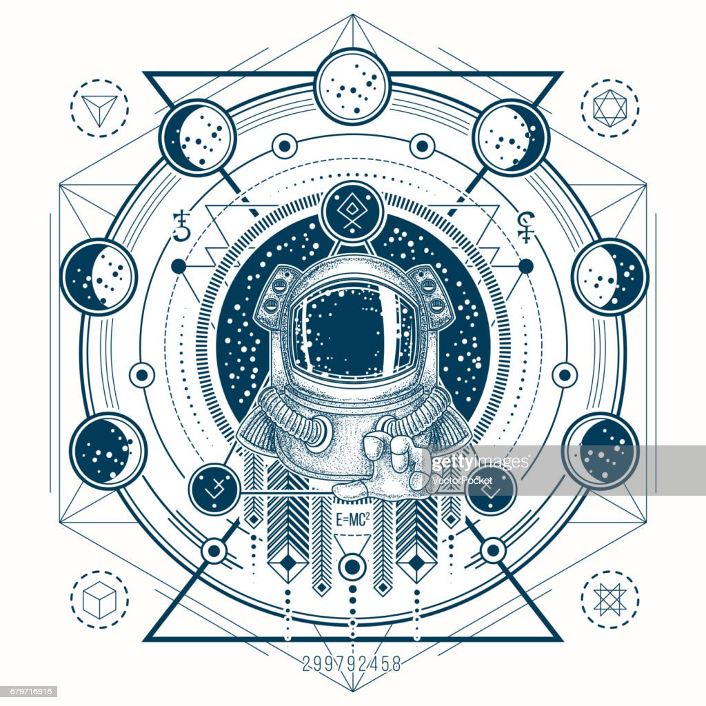 Vector sketch of a tattoo with astronaut in a space suit and moon phases