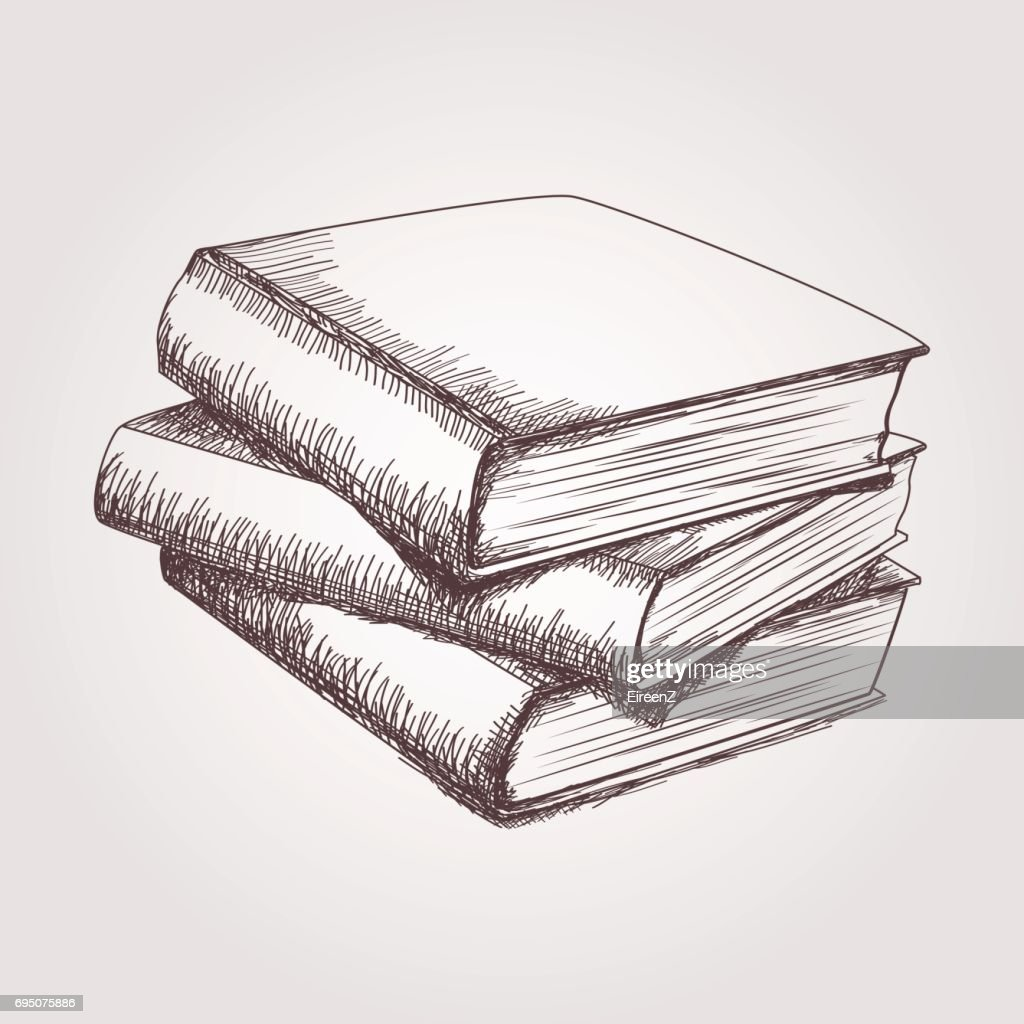 Vector sketch of books stack