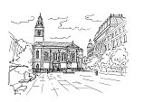 Vector sketch of Cvjetni square (trg) with orthodox cathedral Zagreb.