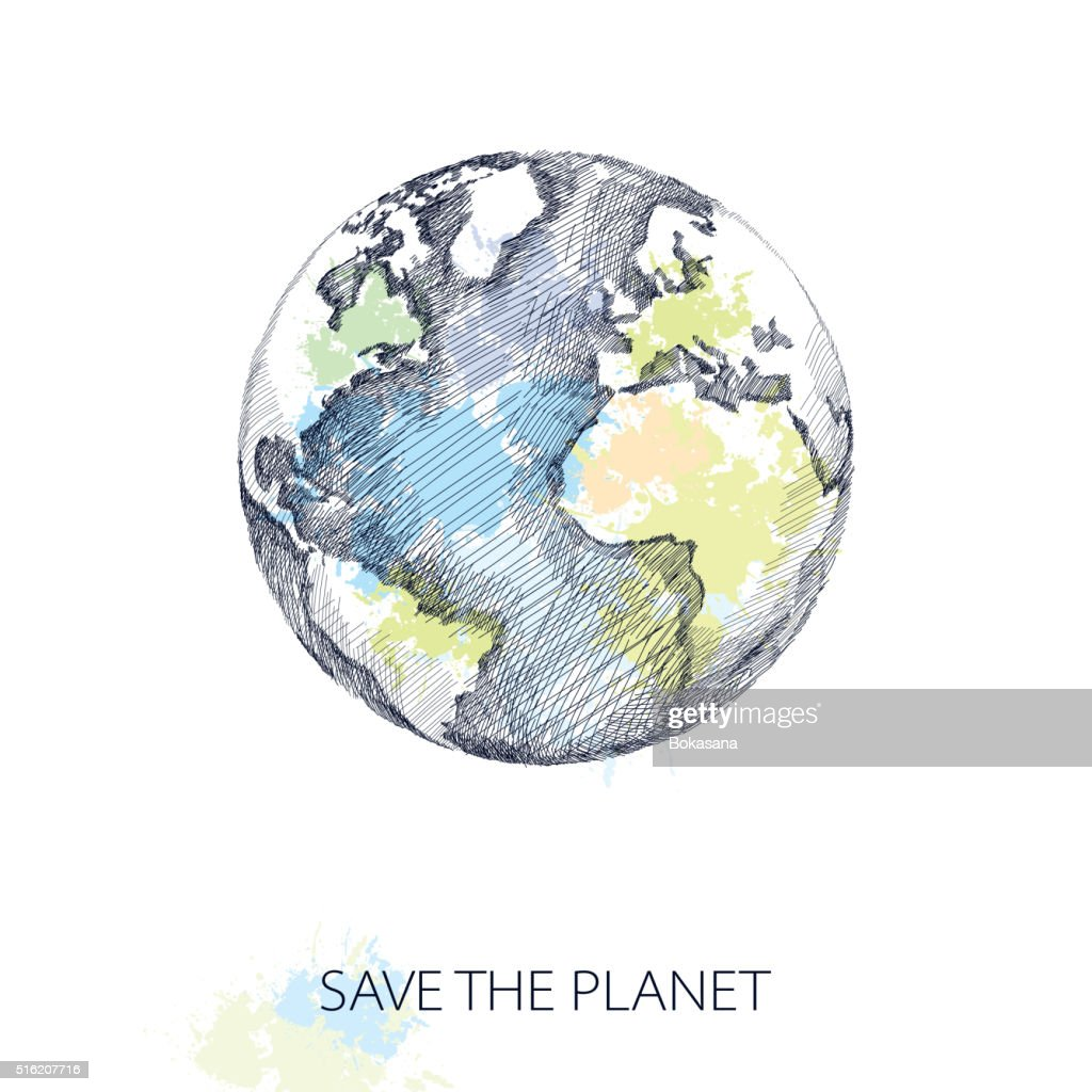 Vector sketch of earth planet in black isolated on white.