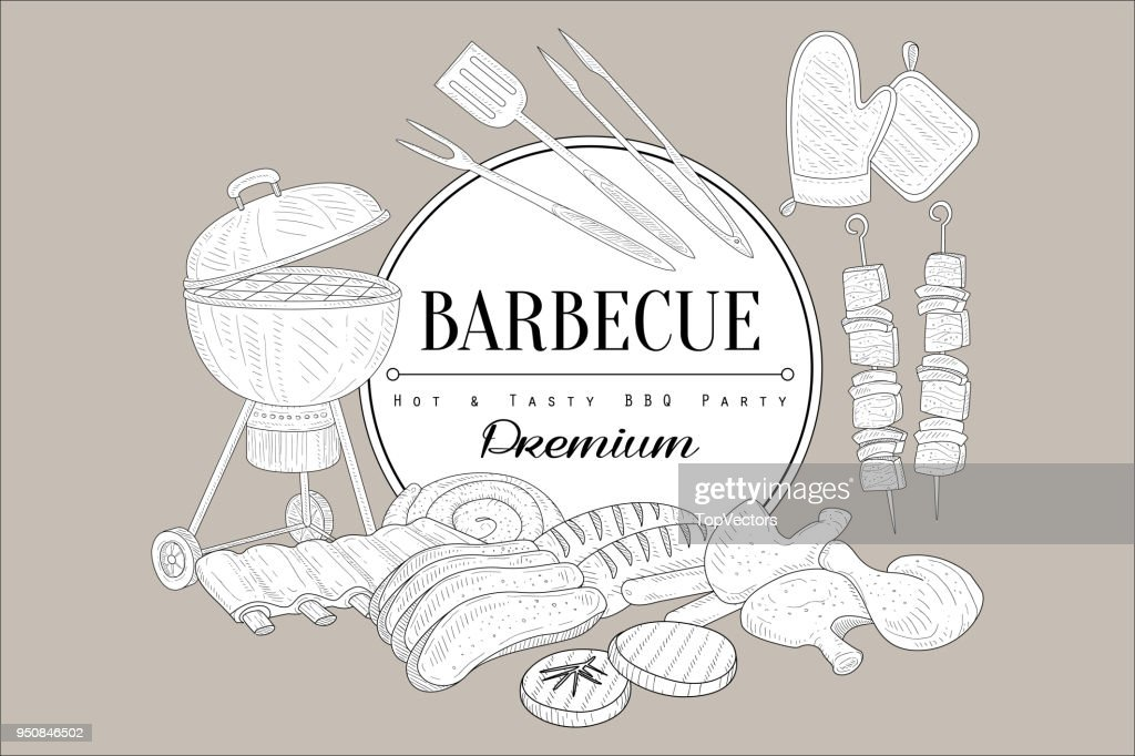 Vector sketch of grill, kitchen utensils for cooking, food kebab, chicken legs, ribs, steak, beef, pork, sausages and place for text. Hot and tasty eating. Barbecue theme