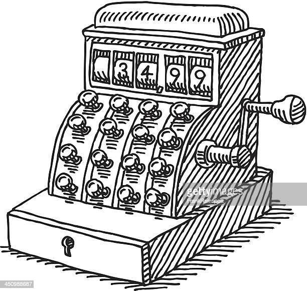 vector sketch of vintage cash register - cash register stock illustrations