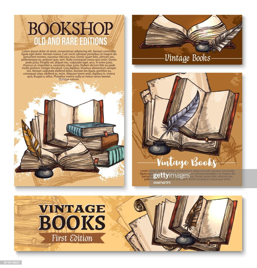 Vector sketch poster for old vintage books library