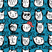 Vector sketch seamless pattern with funny cats' faces for boys. Urban, cool dude. Hand-drawing lettering, slogan, head animal. Print design for T-shirts, banners, flyers, children's party, clothes, social media.