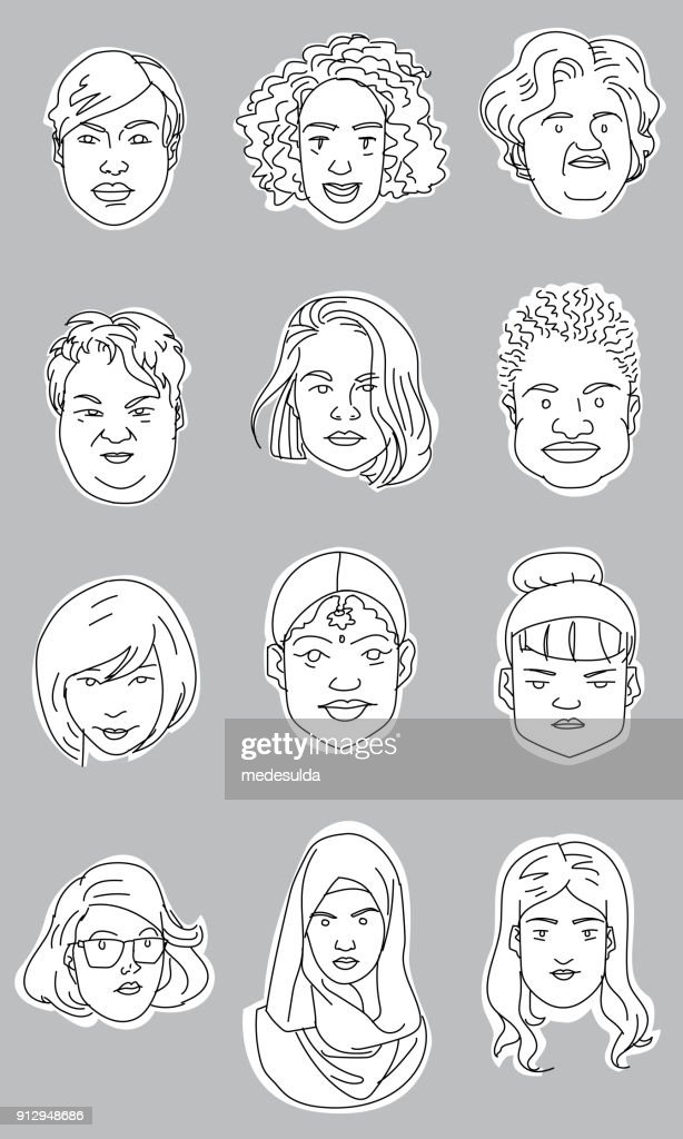 Vector Sketch Woman Portrait Icon : stock illustration