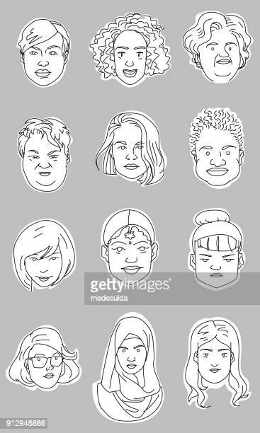vector sketch woman portrait icon - updo stock illustrations, clip art, cartoons, & icons