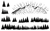 Vector sketched mountain with forest silhouette with sun rays.