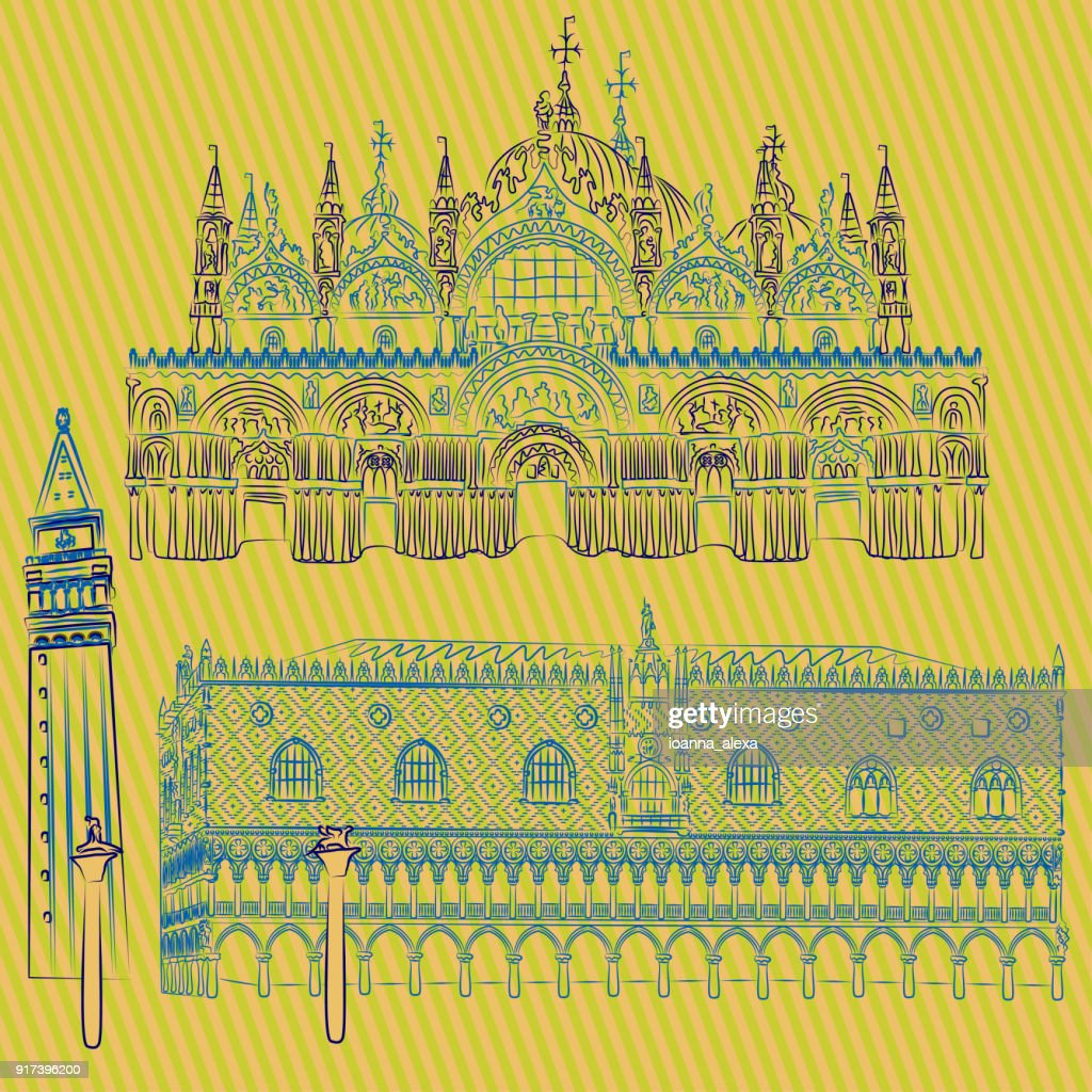 Vector sketches of the Doges' Palace, St. Mark's Basilica, Saint Mark Campanile and the Columns of San Marco and San Teodoro