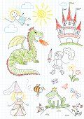 Vector sketches with characters of fairy-tales